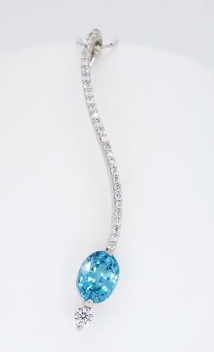 Blue Zircon and Diamond Necklace