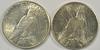 Nice BU 1922-S & 1926-S Peace Silver Dollars