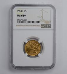 MS63+ 1900 $5.00 Liberty Head Gold Half Eagle - Graded NGC