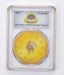 1857 One Dollar of Gold Rush Nuggets - 1.5 Grams - Slabbed