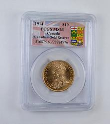 MS63 1914 $10.00 Canadian Gold Reserve - Graded PCGS