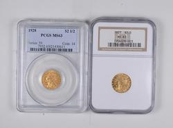 (2) MS63 1927 & 1928 $2.50 Indian Head Gold Quarter Eagles PCGS & NGC