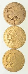 Lot (3) $2.50 1912 1915 & 1925-D Indian Head Gold Quarter Eagles