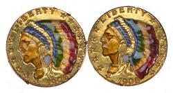 Lot (2) 1908 $2.50 Indian Head Gold Quarter Eagles - Enamel