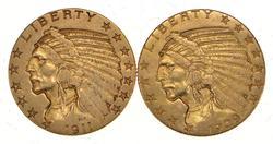 Lot (2) 1909 & 1911 $5.00 Indian Head Gold Half Eagles