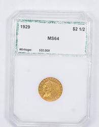 MS64 1929 $2.50 Indian Head Gold Quarter Eagle - Graded PCI
