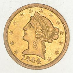 1844-O $5.00 Liberty Head Gold Half Eagle