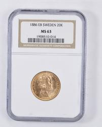 MS63 1886 EB Sweden 20 Kronor Gold - Graded NGC