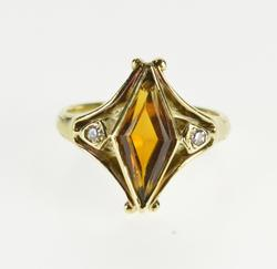 14K Yellow Gold Victorian Lozenge Cut Citrine Diamond Accented Ring