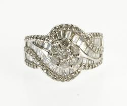 10K White Gold 3.20 Ctw Diamond Encrusted Swirl Statement Ring