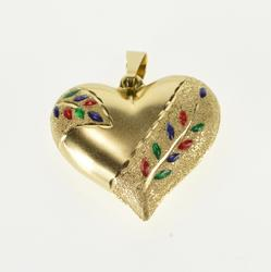 14K Yellow Gold Puffy Rounded Heart Enamel Textured Leaf Vine Pendant