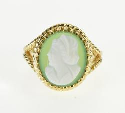 14K Yellow Gold Carved Cameo Green Glass Oval Statement Ring