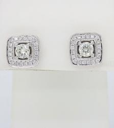 Halo Style Cluster Diamond Earrings