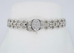 18K White Gold Link Style Diamond Bracelet