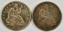 Sharp XF pair of Seated Half Dollars from 1872 & 1876-S