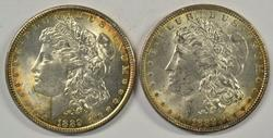 2 Great rainbow toned BU 1889-P Morgan Silver Dollars