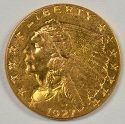 Blazing BU 1927 US $2.50 Indian Gold Piece