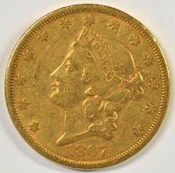 Well struck scarce 1867-S Type 2 $20 Liberty Gold Piece