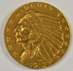 Great-looking 1912 US $5 Indian Gold Piece