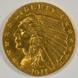 Bright-looking 1911 US $2.50 Indian Gold Piece. Nice