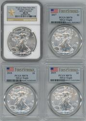 4 Diff. perfect MS70 graded Silver Eagles 2013-2019