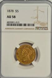 Scarce near mint 1878 $5 Liberty Gold Piece. NGC AU58