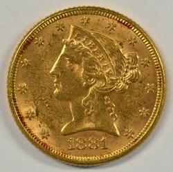 Fresh BU 1881 US $5 Liberty Gold Piece