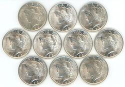 Nice mix of 10 mostly BU Peace Dollars from 1920's