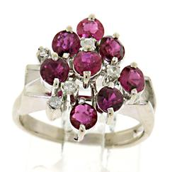 Flashy Pink Sapphire and Diamond Cluster Ring