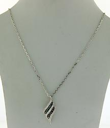 Silver IR Teal and White Diamond Necklace