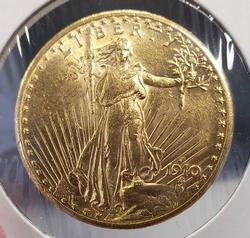 1910-S Brilliant Unc $20 Double Eagle, Saint
