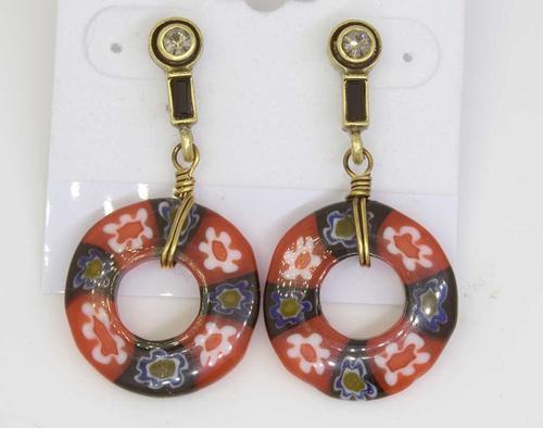 Black Millefiori Glass Deco Earrings
