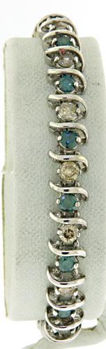 Amazing Blue and White Diamond Tennis Bracelet