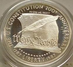 1987 Silver PROOF Constitution Dollar:no box,no papers