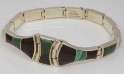 Stunning Malachite & Black Onyx Silver Bracelet