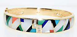 Gorgeous Inlay and Diamond Bangle