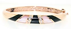 Rose Gold Pink Mop. Onyx and Diamond Bracelet