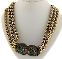 Heidi Daus Pearl Triple Strand Multi CZ Necklace
