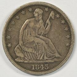 Handsome 1843-O No Motto Liberty Seated Half Dollar