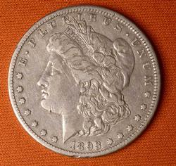 1893-CC Morgan Silver Dollar, Circ