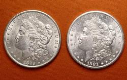 1879-S & 1881-S BU Morgan Pair