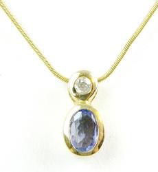 14K Tanzanite & Diamond Slide Pendant & Chain