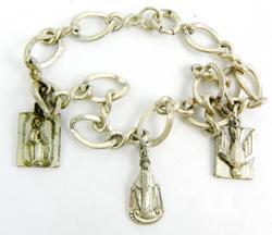 Early Sterling Religious Charm Bracelet