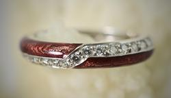 Unique 18K Diamond and Red Enamel Band
