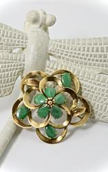 Lovely 14K Jade Floral Brooch