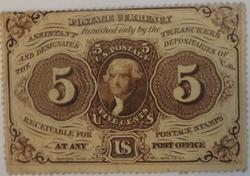 5 Cent Perferated Fractional First Series 1862-3  Fr 1229 No Motto