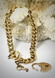 Fabulously Heavy 18K Vintage Link Bracelet with 14K Lock and Key
