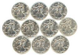Ten (10) slider/BU 1942 Walking Liberty Half Dollars