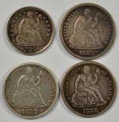 Sharp 1856 Half Dime & 1883, 1887, & 1888 Seated Dimes