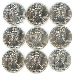 9 Assorted BU Walking Liberty Half Dollars 1941-1945
